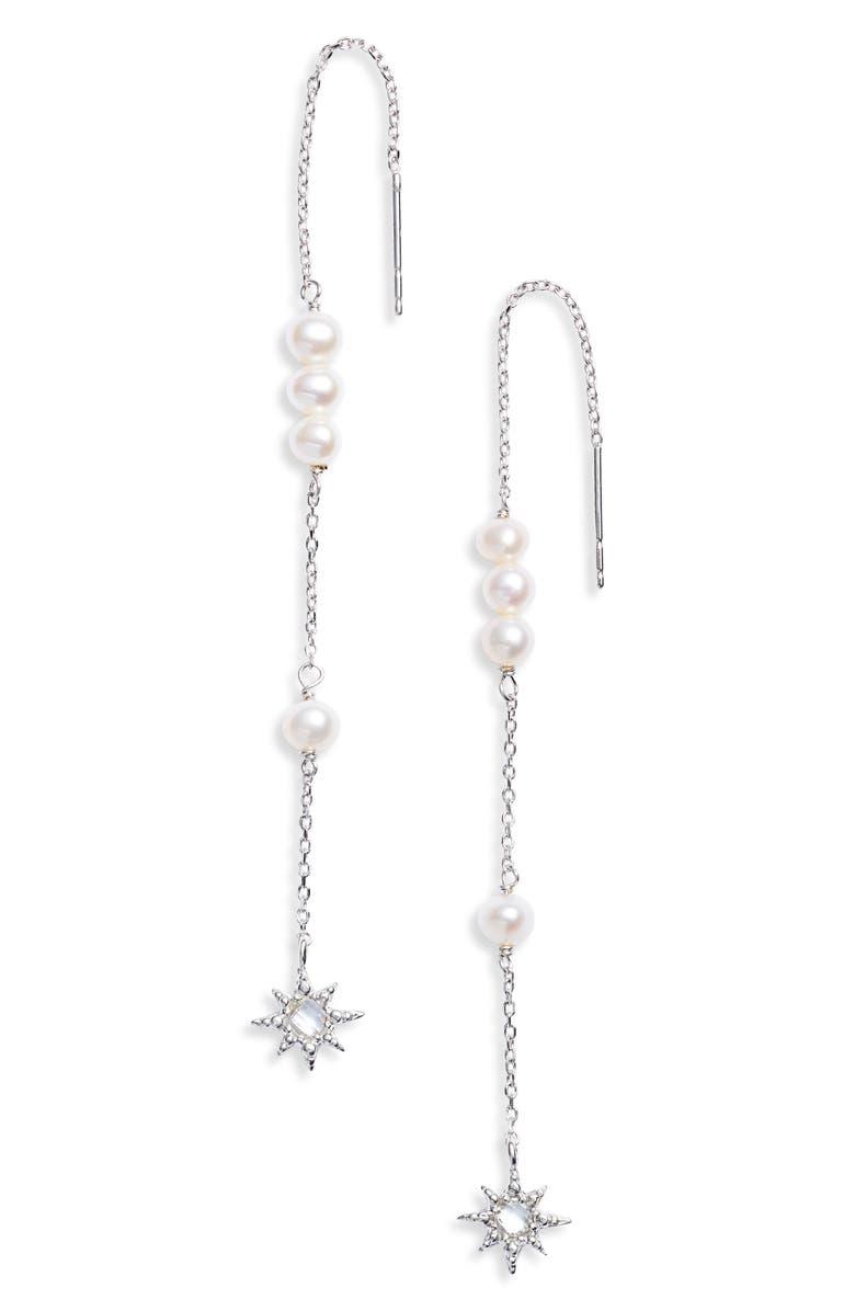 ANZIE Dew Drop Pearl Threader Earrings, Main, color, SILVER/ PEARL