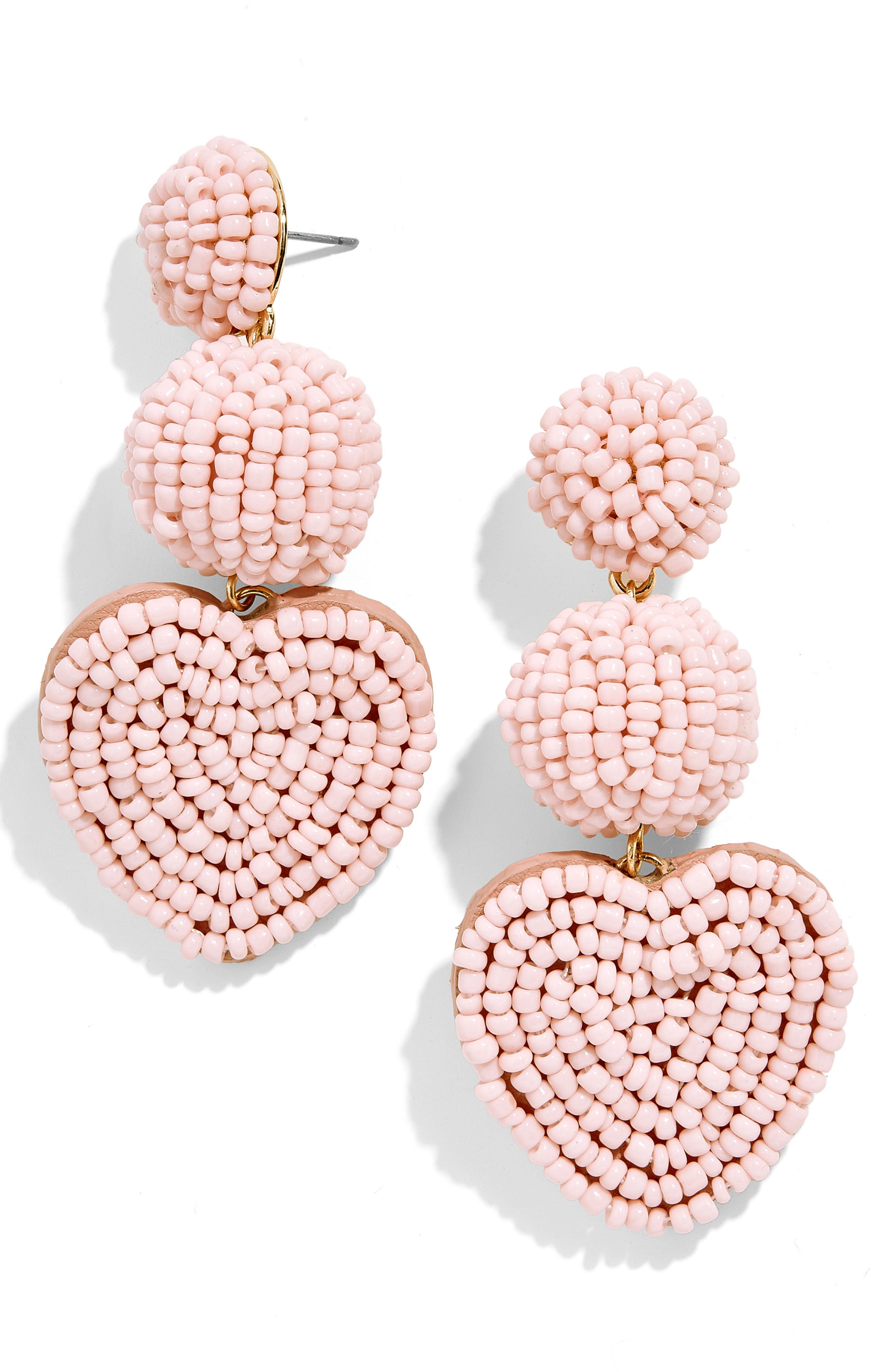 Vitina Beaded Heart Drop Earrings, Main, color, BLUSH