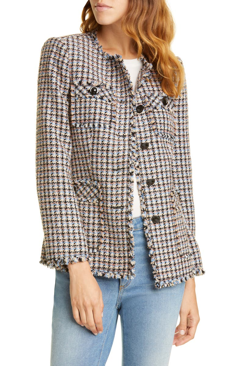REBECCA TAYLOR Houndstooth Tweed Jacket, Main, color, ROBINS EGG COMBO