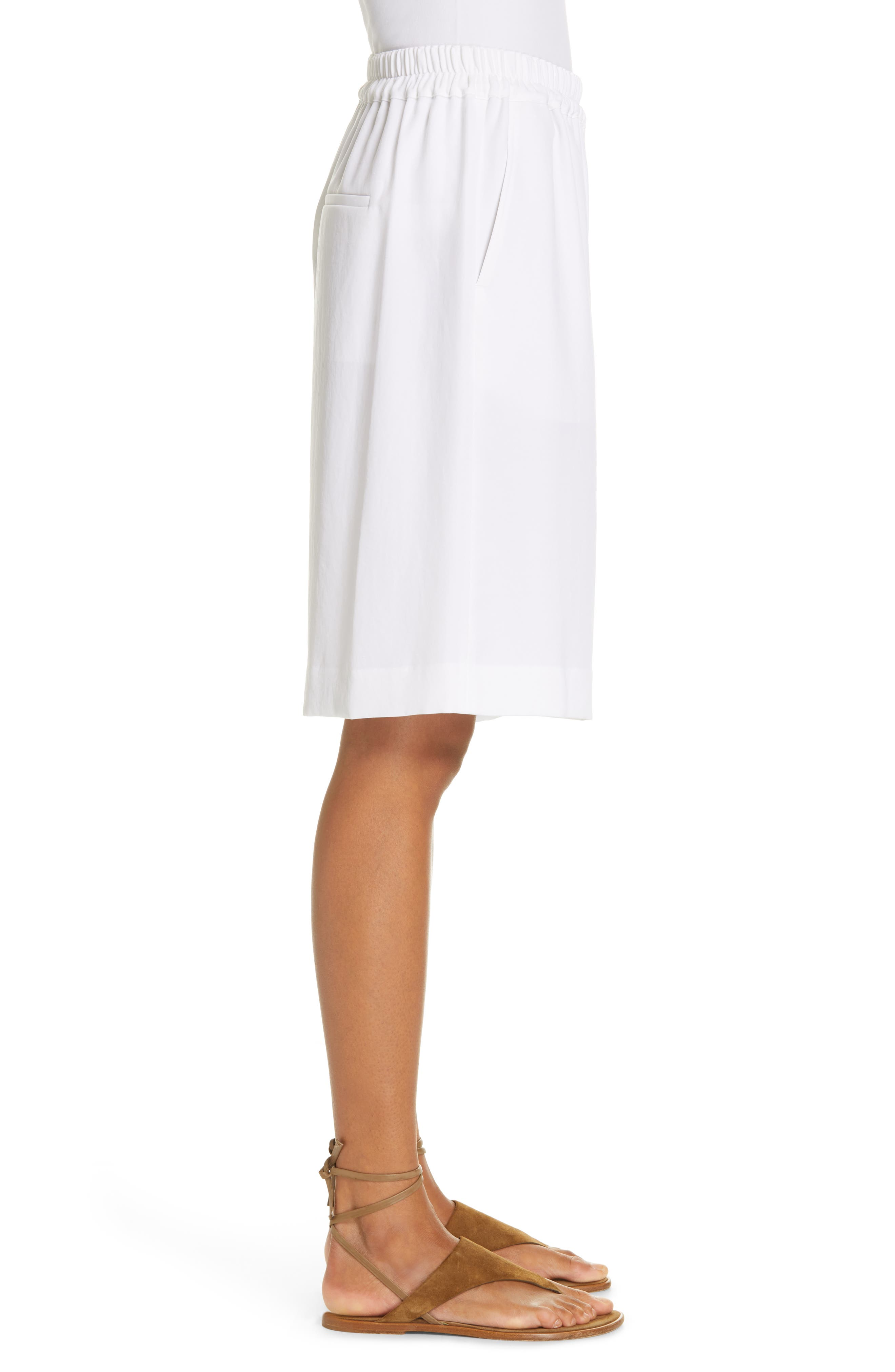 ,                             Wide Leg Pull-On Shorts,                             Alternate thumbnail 3, color,                             OPTIC WHITE