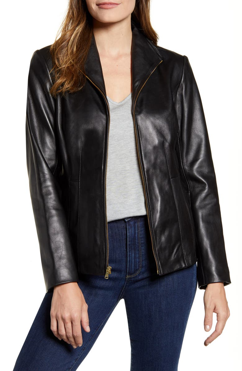 COLE HAAN Lambskin Leather Jacket, Main, color, BLACK
