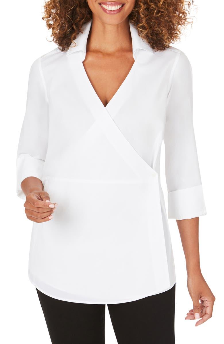 FOXCROFT Solista Wrap Front Stretch Cotton Blend Blouse, Main, color, WHITE
