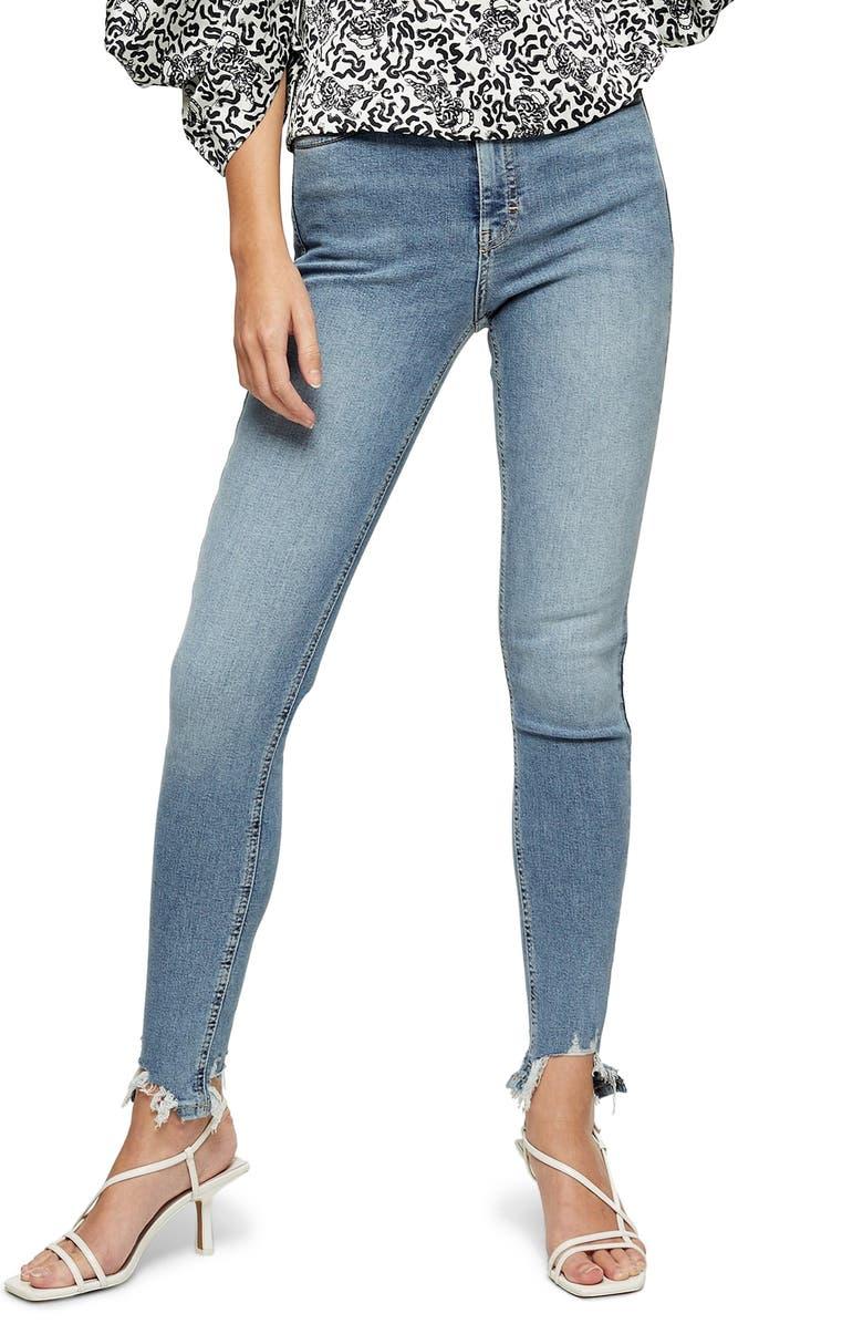 TOPSHOP Jamie High Waist Jagged Hem Ankle Skinny Jeans, Main, color, 400