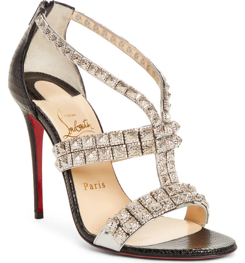 CHRISTIAN LOUBOUTIN Diwali Strappy Studded Sandal, Main, color, SILVER/ BLACK