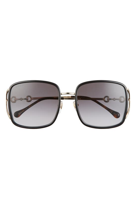 Gucci Horsebit 58mm Square Sunglasses In Black