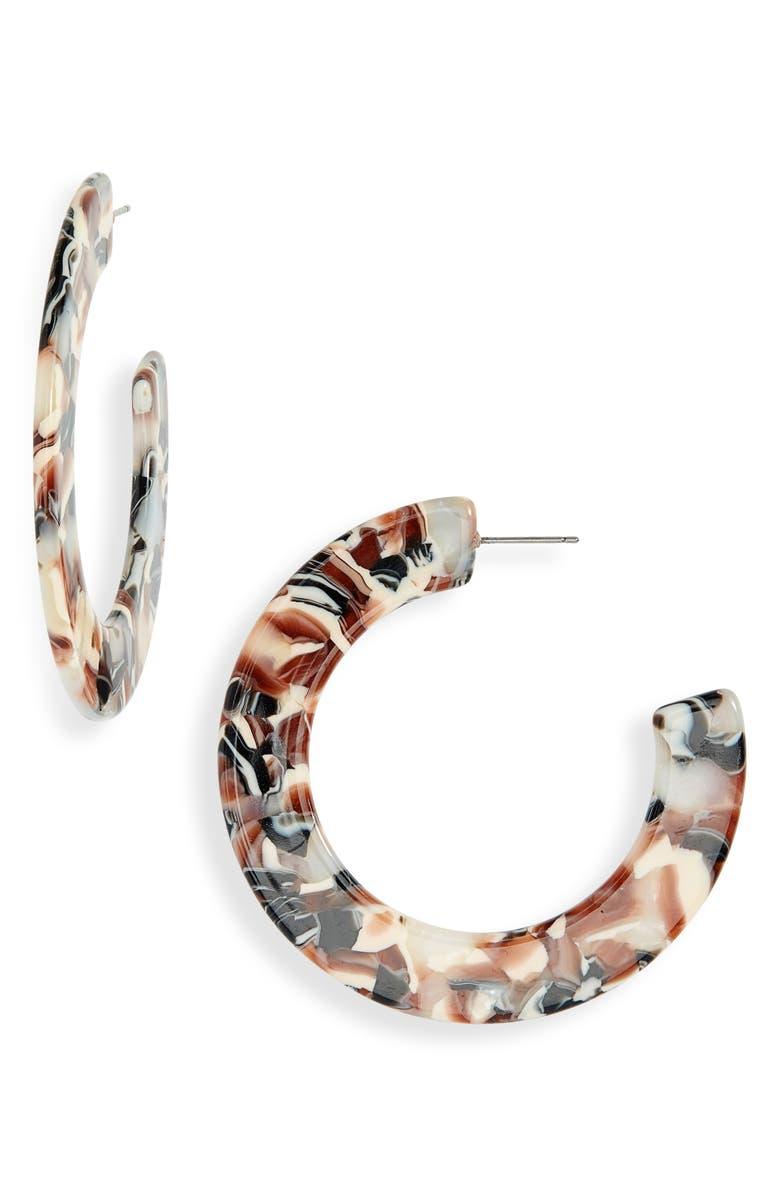 BP. Large Flat Resin Hoop Earrings, Main, color, NEUTRAL MULTI- GOLD