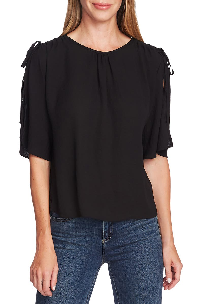 VINCE CAMUTO Split Sleeve Georgette Blouse, Main, color, 006