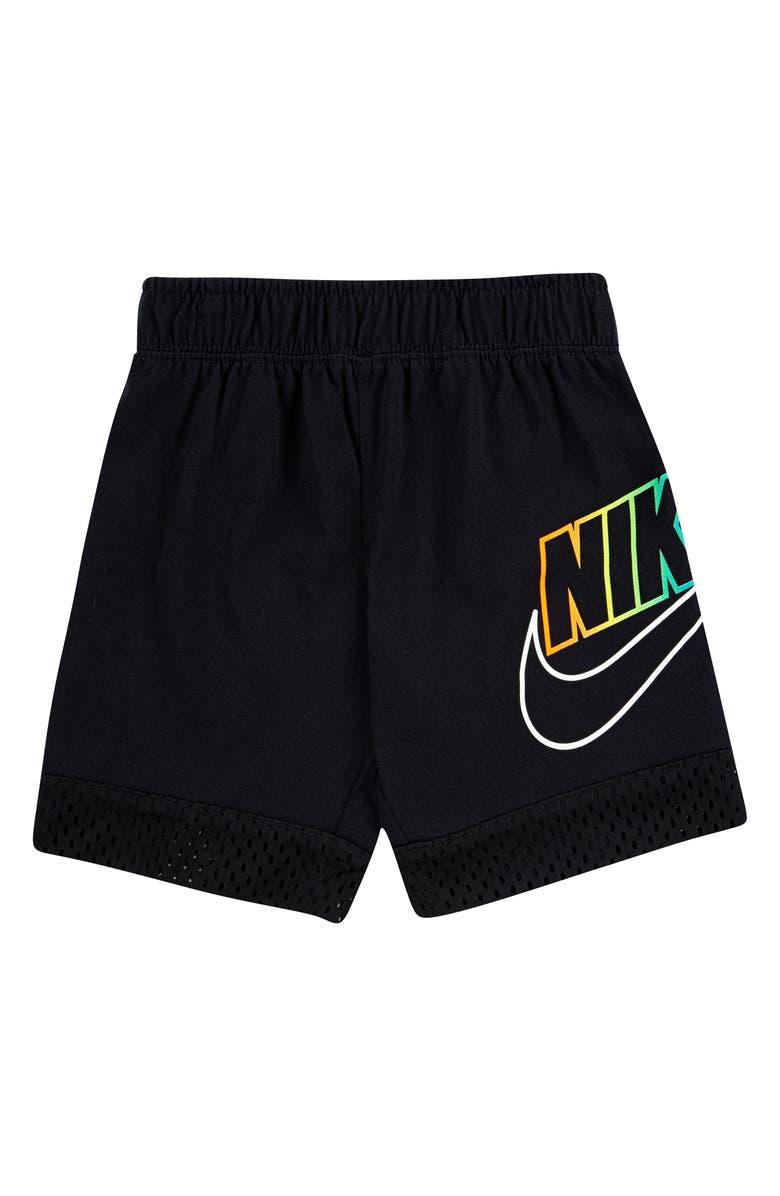 NIKE Sportswear Mesh Overlay Shorts, Main, color, BLACK