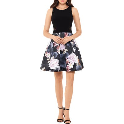Xscape Floral Cocktail Dress, Black