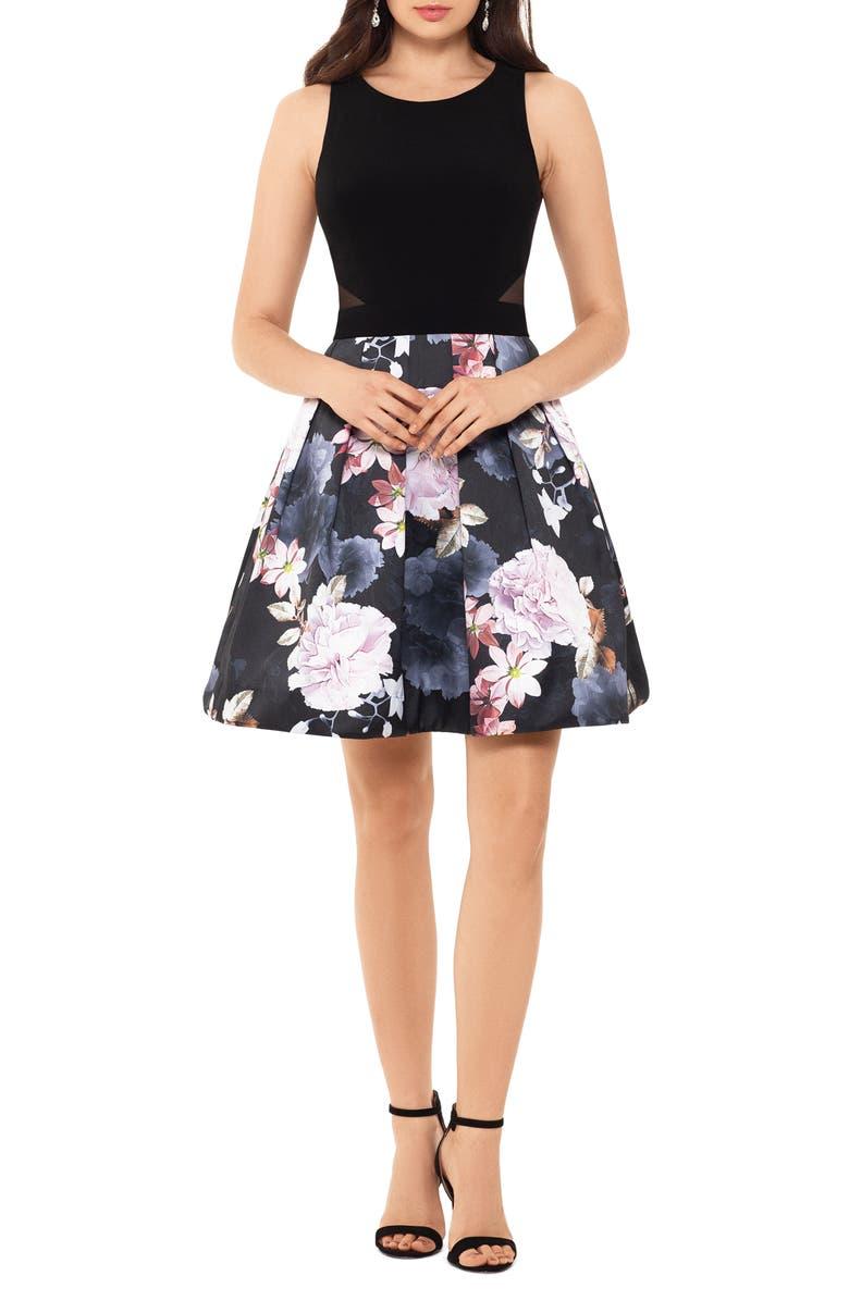 XSCAPE Floral Cocktail Dress, Main, color, BLACK/ GREY