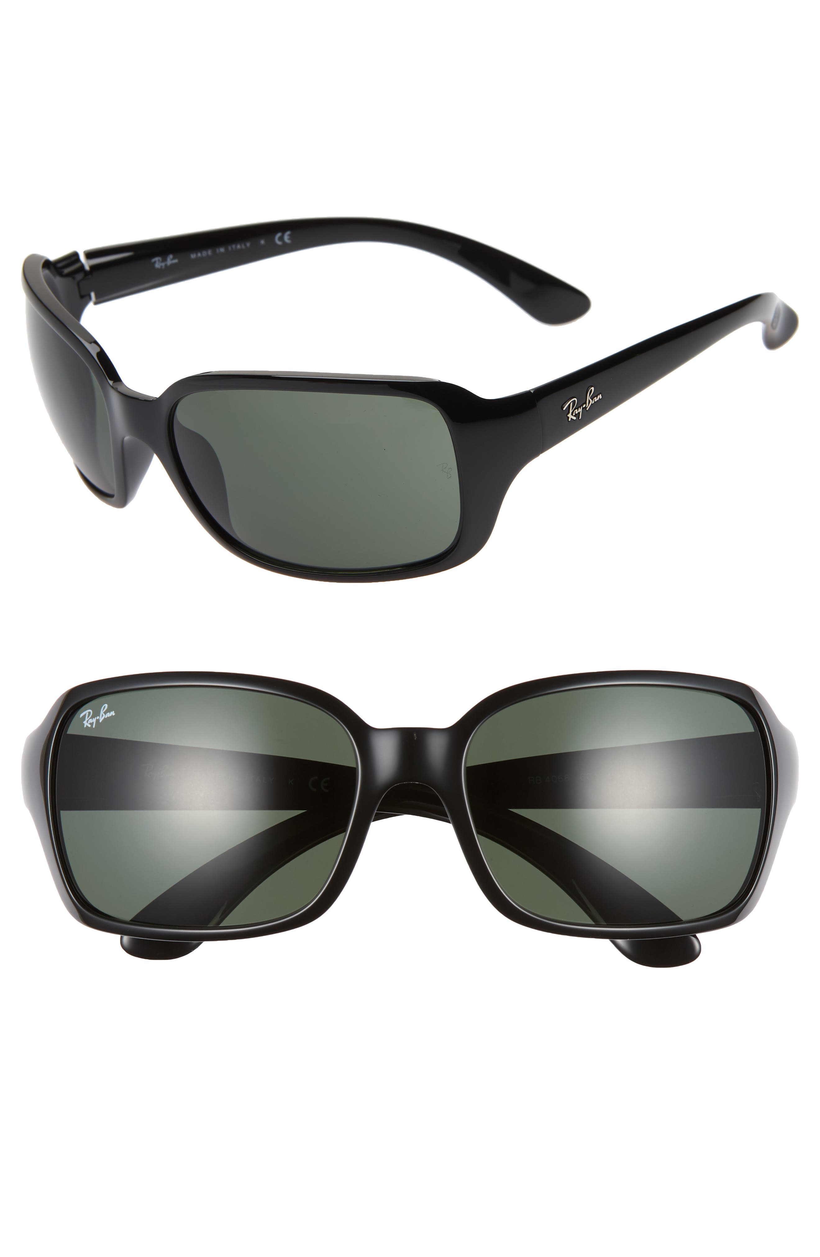 Ray-Ban 60Mm Wrap Sunglasses - Black/ Green Solid