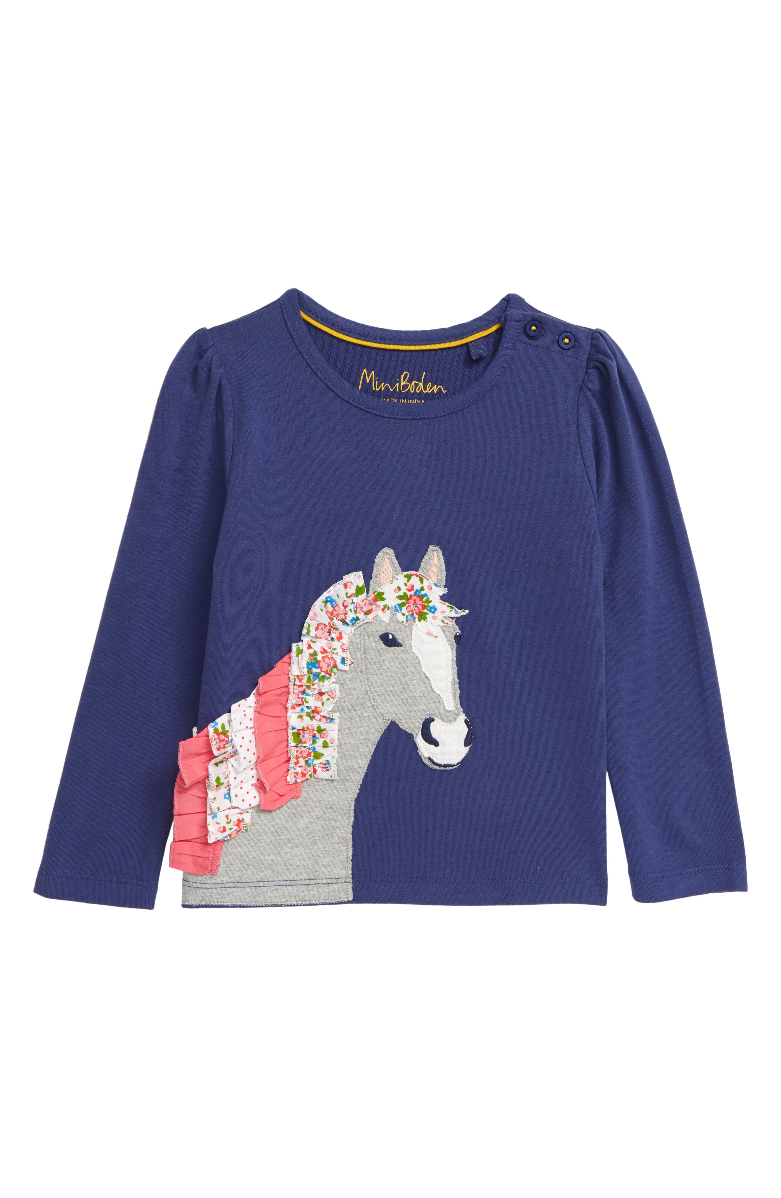 A ruffled horse applique makes this long-sleeve T-shirt extra fun and fanciful. Style Name: Mini Boden Kids\\\' Horse Applique T-Shirt (Toddler, Little Girl & Big Girl). Style Number: 6103066. Available in stores.