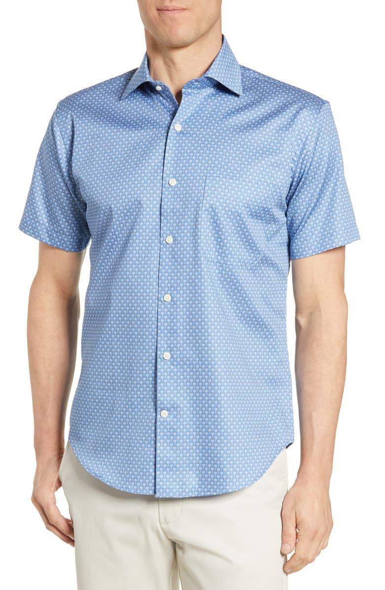 PETER MILLAR Palm Regular Fit Print Shirt, Main, color, 408