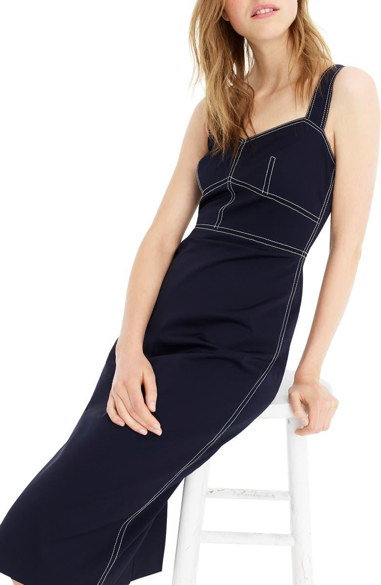 J.CREW Contrast Stitch Stretch Faille Sheath Dress, Main, color, 400