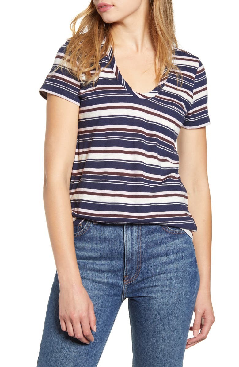 CASLON<SUP>®</SUP> Rounded V-Neck Tee, Main, color, NAVY P- PINK W ALDER STRIPE
