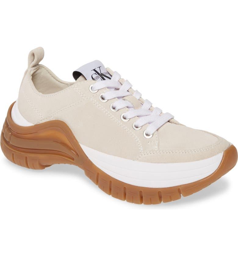 CALVIN KLEIN JEANS Tisha Sneaker, Main, color, STONE SUEDE