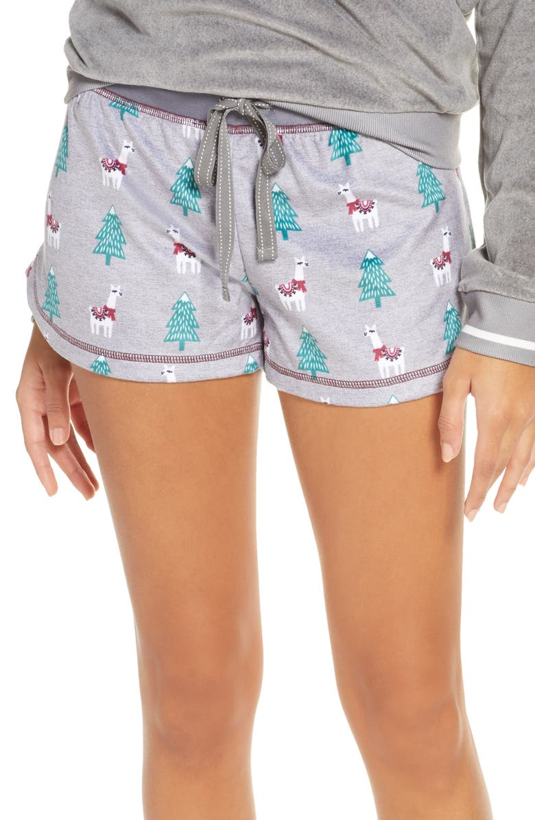PJ SALVAGE Oh My Velour Shorts, Main, color, HEATHER GREY