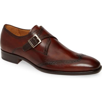 Mezlan Forest Single Monk Strap Wingtip Shoe, Brown