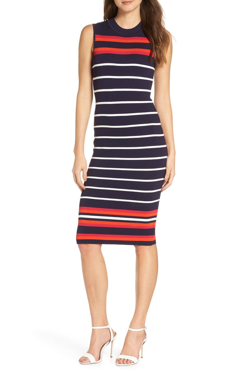ELIZA J Stripe Knit Sheath Dress, Main, color, NAVY