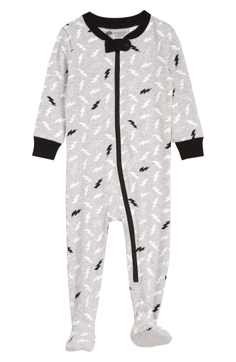 TUCKER + TATE Print Fitted One-Piece Pajamas, Main, color, GREY ASH HEATHER BOLTS