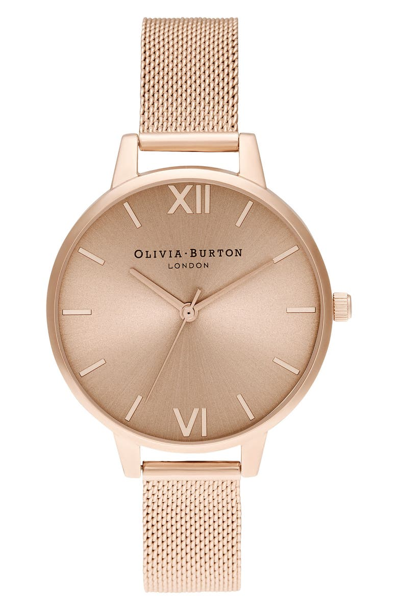 OLIVIA BURTON Mesh Strap Watch, 34mm, Main, color, ROSE GOLD