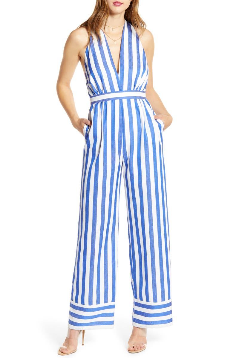 WAYF Afton Stripe Halter Neck Jumpsuit, Main, color, BLUE STRIPE