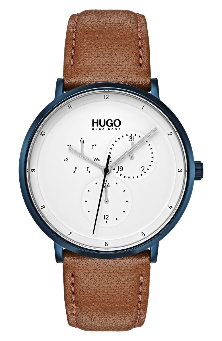 HUGO Ultra Slim Leather Strap Watch, 40mm, Main, color, WHITE