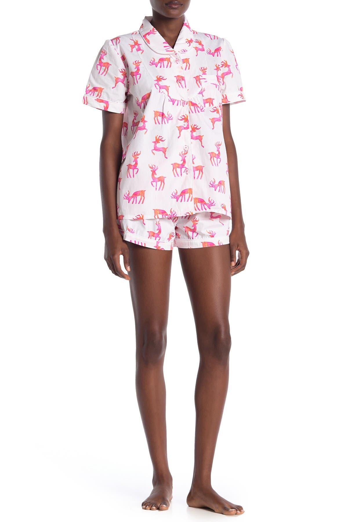 Image of SANT AND ABEL Reindeer Shorts & Shirt Pajama 2-Piece Set