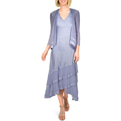 Petite Komarov Charmeuse & Chiffon Tiered Hem Dress With Jacket, Blue