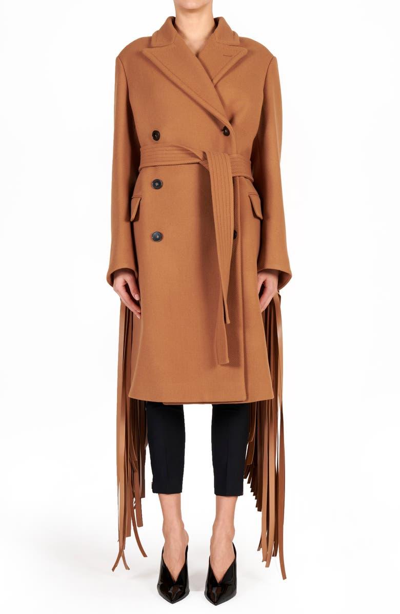 STELLA MCCARTNEY Pheobe Fringe Double Breasted Wool Coat, Main, color, NEW TAN