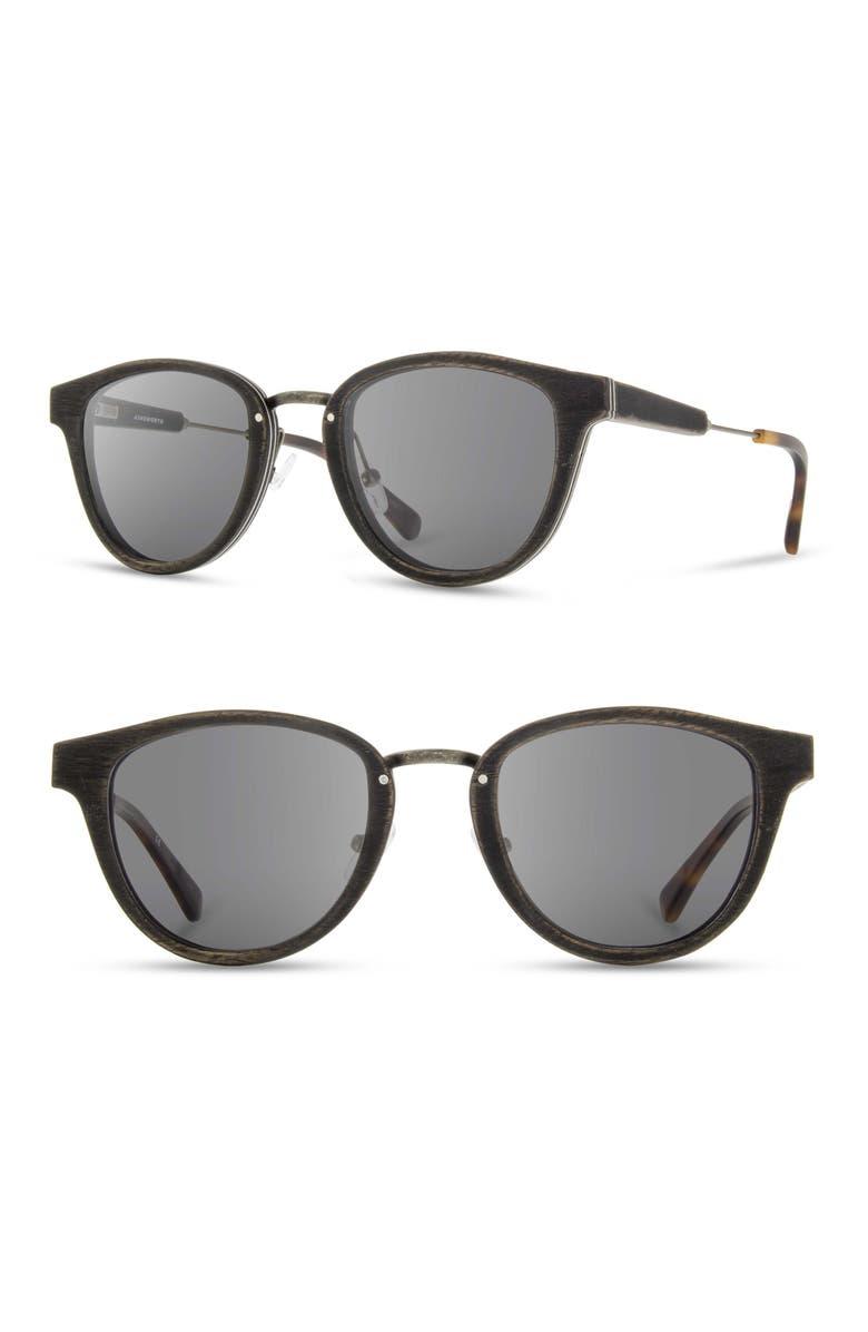 SHWOOD Ainsworth 48mm Sunglasses, Main, color, DISTRESSED WALNUT/ GREY