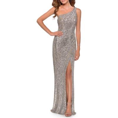 La Femme One-Shoulder Sequin Gown, Metallic
