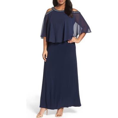 Plus Size Alex Evenings Embellished Cold Shoulder Popover Gown