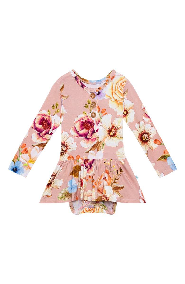 POSH PEANUT Miranda Twirl Skirted Bodysuit, Main, color, OPEN PINK