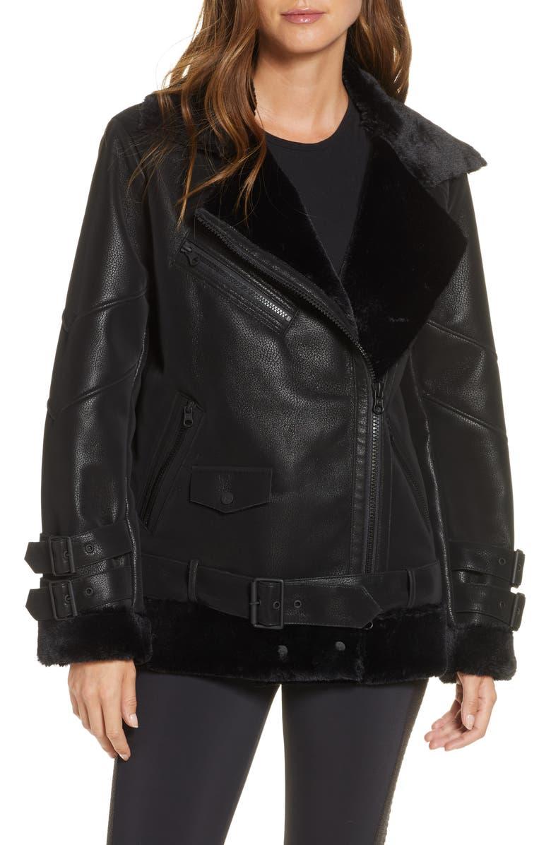 BLANC NOIR Violetta Faux Shearling Moto Jacket, Main, color, 001