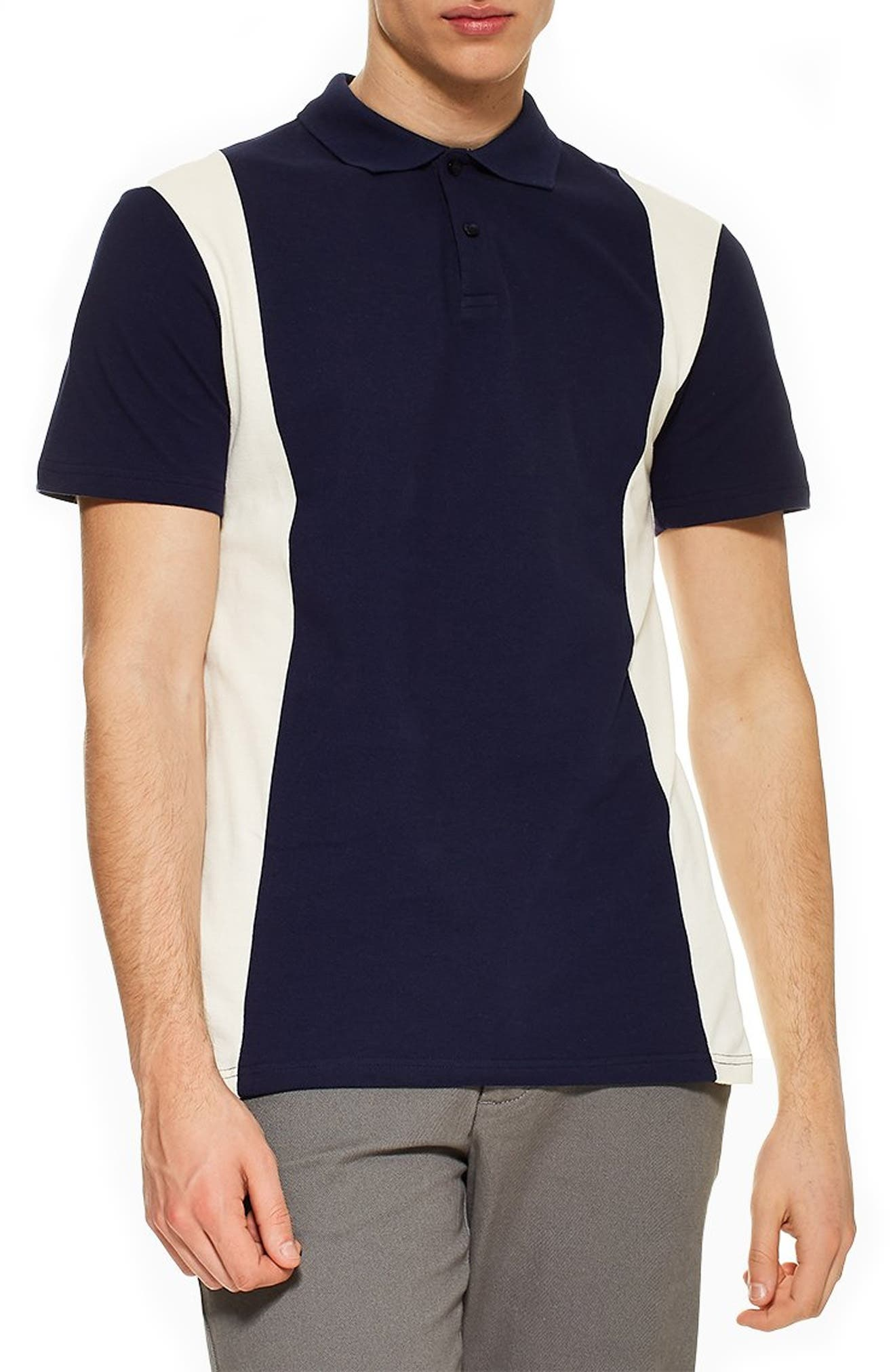 1960s – 70s Mens Shirts- Disco Shirts, Hippie Shirts Mens Topman Colorblock Polo Size X-Small - Blue $40.00 AT vintagedancer.com