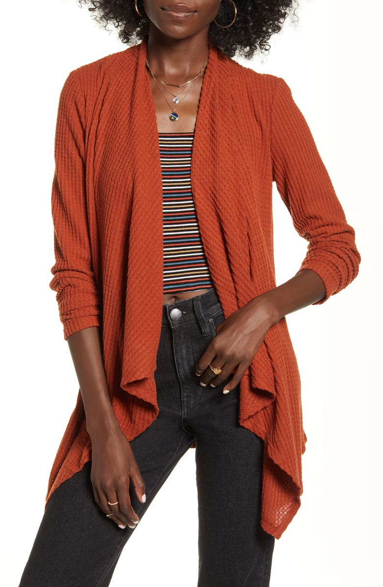 SOCIALITE Waffle Knit Waterfall Cardigan, Main, color, BROWN SPICE