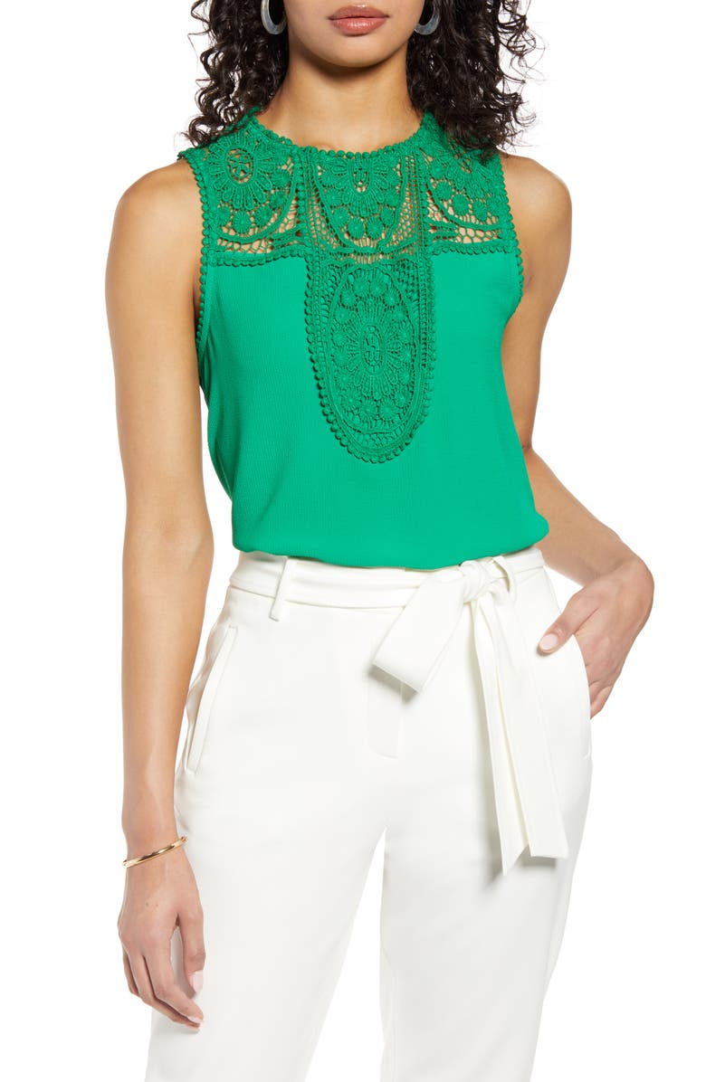 HALOGEN<SUP>®</SUP> Lace & Crepe Top, Main, color, GREEN JOLLY