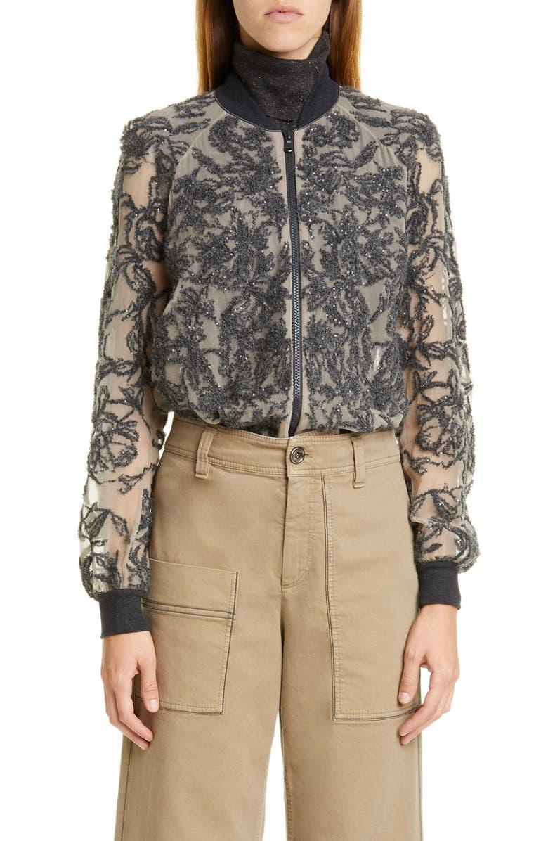 BRUNELLO CUCINELLI Paillette Embroidered Silk Bomber Jacket, Main, color, 020