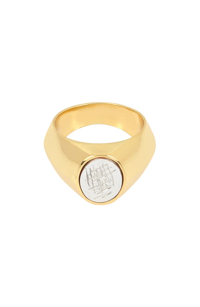 ALLSAINTS Large Oval Signet Ring, Main, color, SILVER/ GOLD