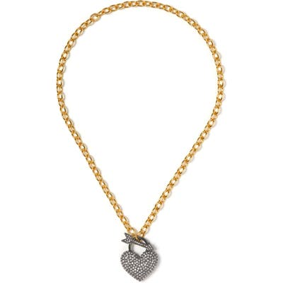Vince Camuto Pave Heart Toggle Necklace