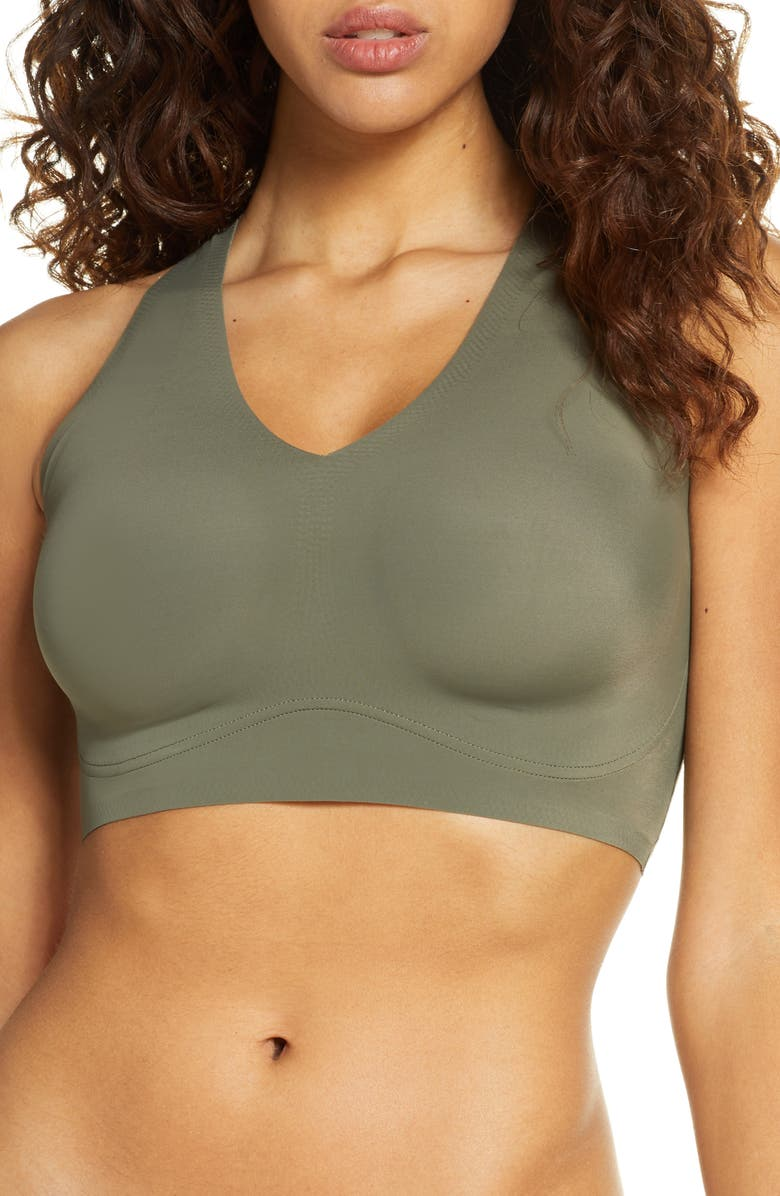 TRUE & CO. True Body V-Neck Wireless Bra, Main, color, ARMY DUST