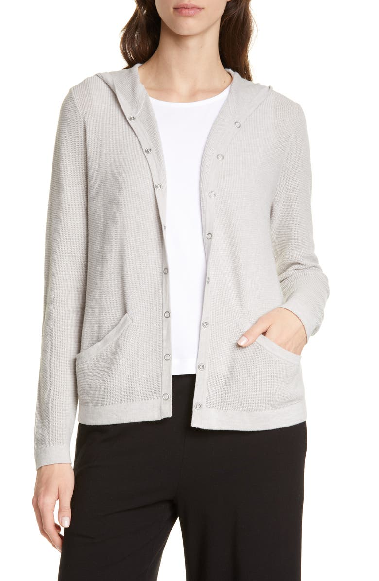 EILEEN FISHER Organic Cotton Blend Hooded Cardigan, Main, color, 020