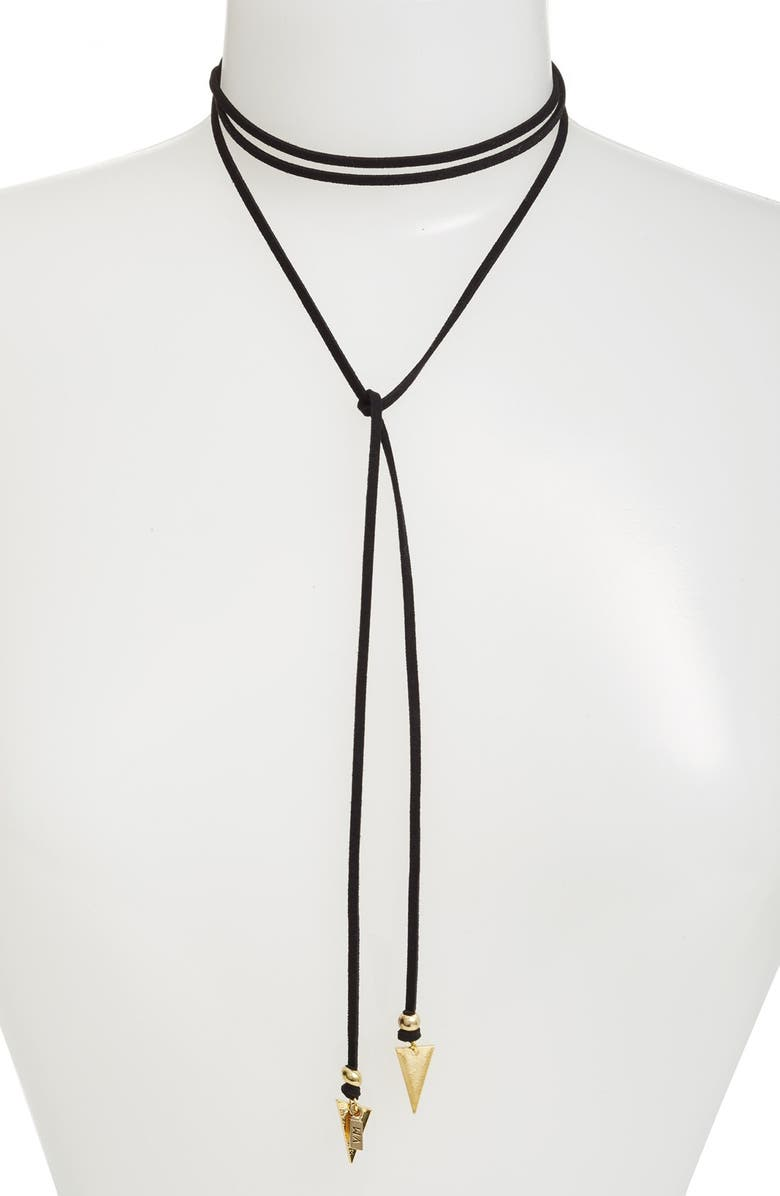 VANESSA MOONEY 'Arrow' Faux Suede Lariat Choker, Main, color, 710
