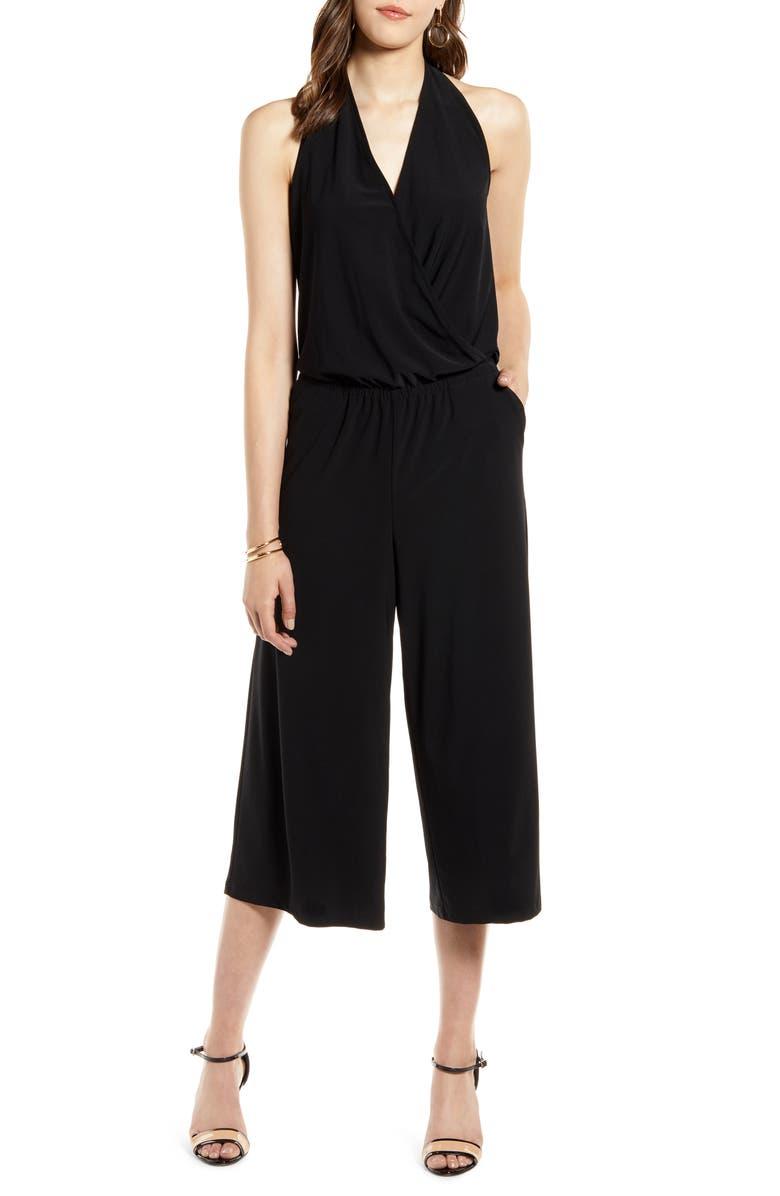 HALOGEN<SUP>®</SUP> Halter Neck Knit Jumpsuit, Main, color, BLACK