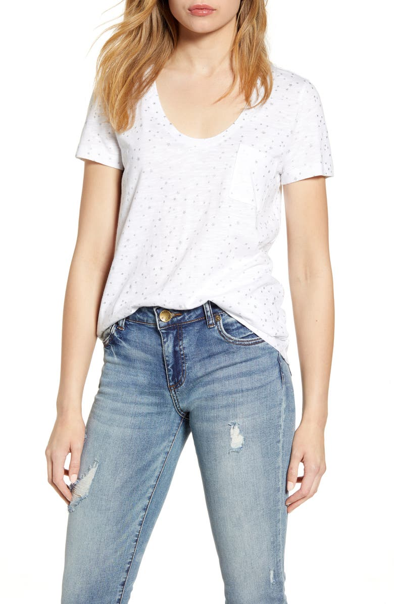 CASLON<SUP>®</SUP> Rounded V-Neck Tee, Main, color, WHITE METALLIC SILVER STARS