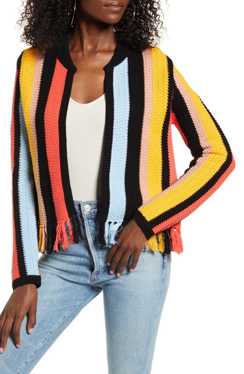 ENGLISH FACTORY Stripe Knit Jacket, Main, color, MULTI
