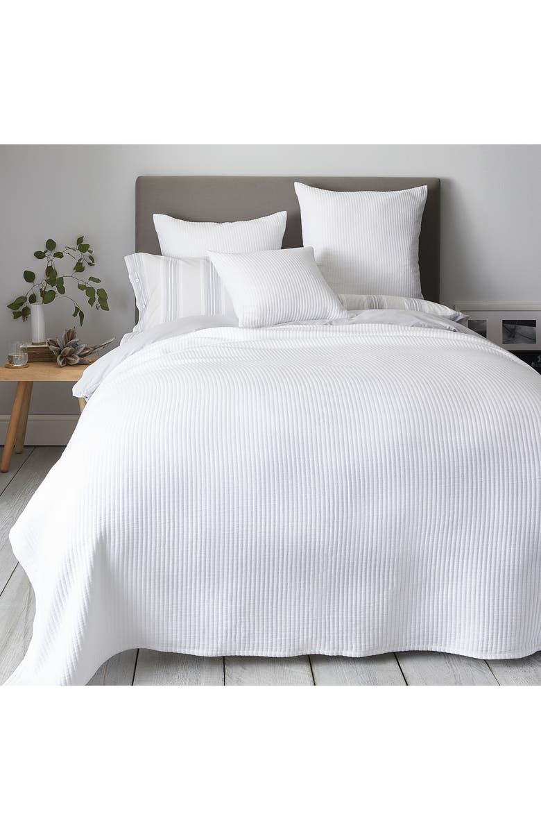 THE WHITE COMPANY Classic Rib Bedspread, Main, color, WHITE