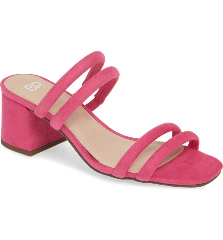 BP. Lucia Block Heel Slide Sandal, Main, color, PINK FAUX SUEDE