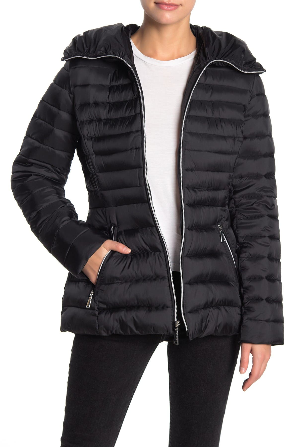 Image of Laundry By Shelli Segal Quilt Flared Puffer Jacket